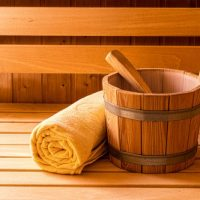 Finnish Wooden Sauna Bucket, Ladle and Towel